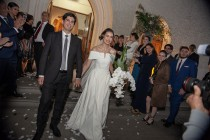 El vestido realizado por Javiera Jordán tenía una cola de cuatro metros.